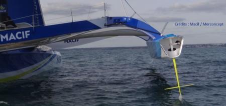 vue du flotteur tribord de l'Ultim Macif