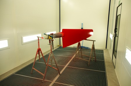 Rudder in painting in new paint booth